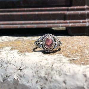 Cacoxenite Super Seven Cab Sterling Silver Ring